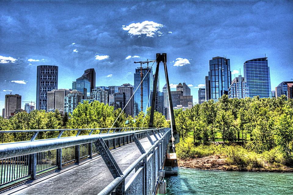 Calgary, City, Canada, Alberta, Skyline, River, Bow