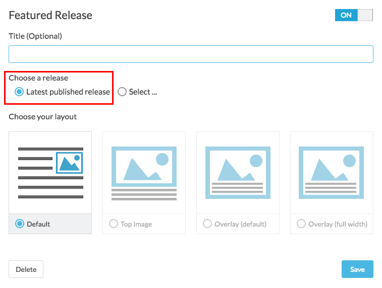 featured release with choose release highlighted