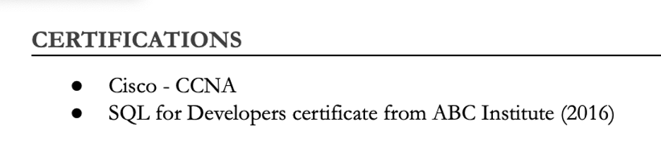 List online courses in a separate certifications section of your resume if you want them to stand out.