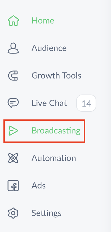 Creating an SMS broadcast in ManyChat dashboard