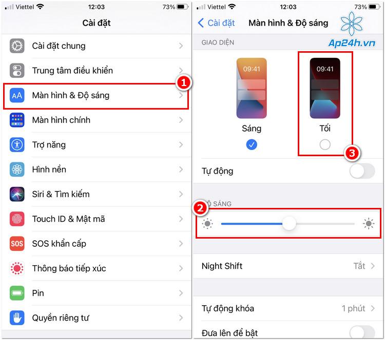 Giảm độ sáng, chuyển giao diện nền tối trên iOS 14