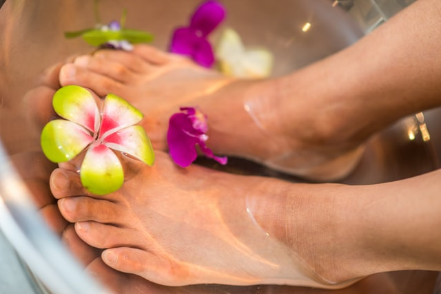 footbath with flowers for spa day
