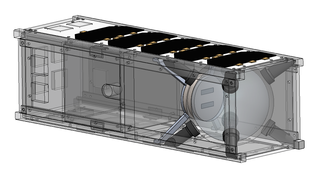 A CAD rendering of an EcoSphere as a payload in a 3U CubeSat