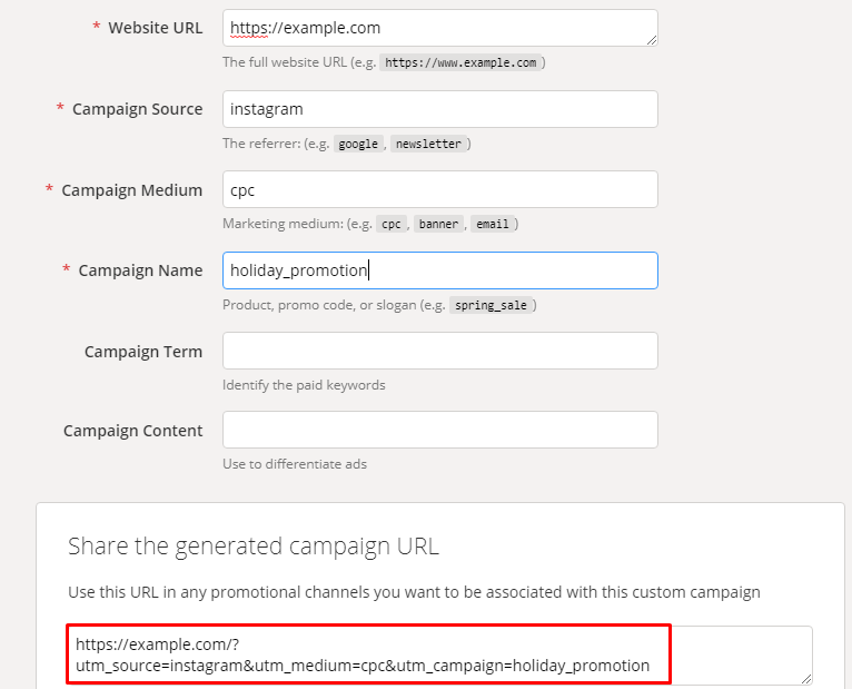 instagram marketing strategy Screenshot of utm tag builder with red box