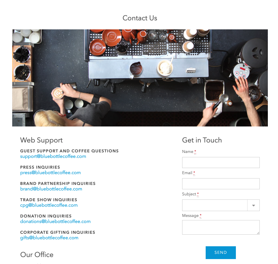 Blue Bottle Coffee Contact Page