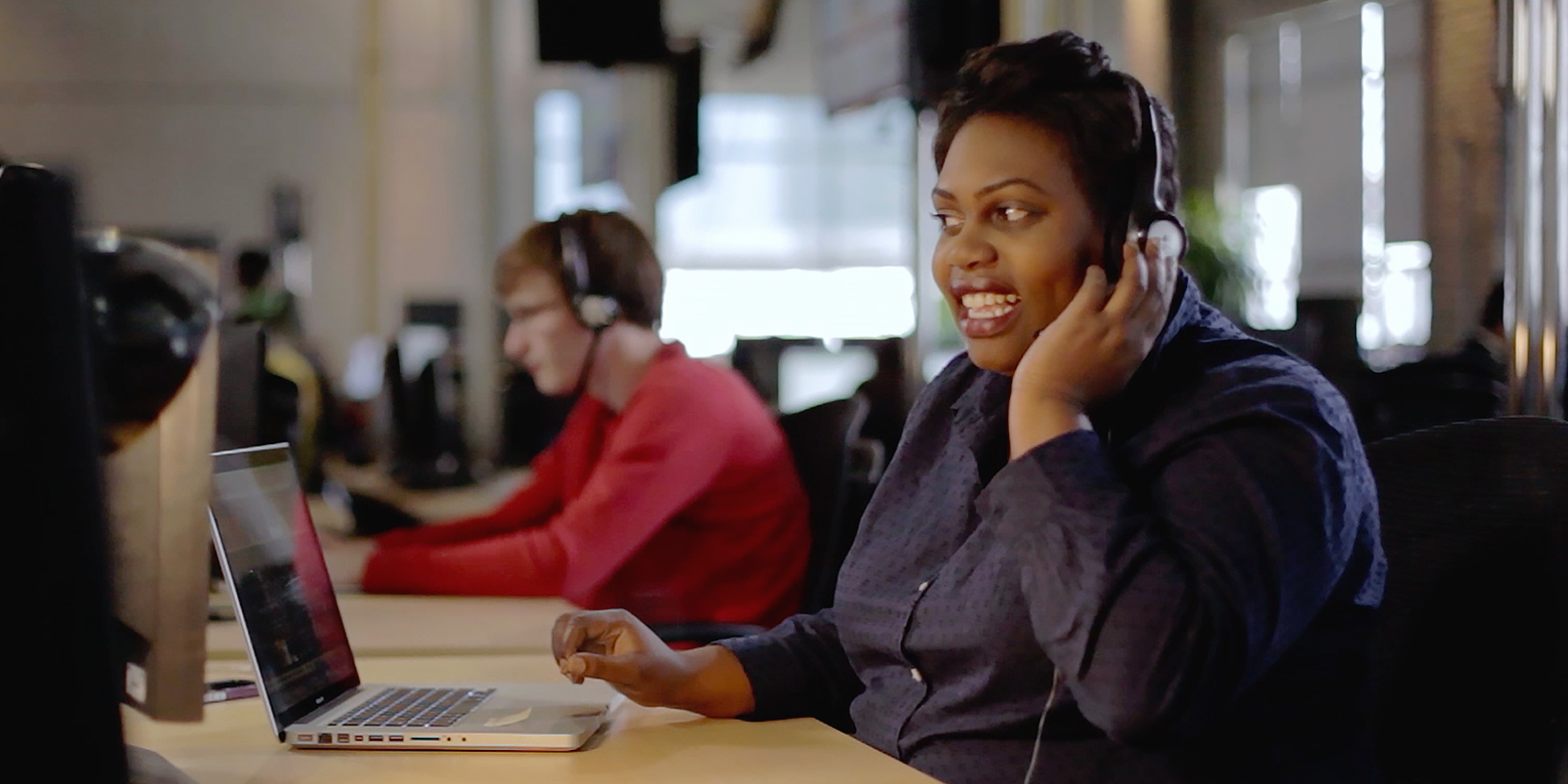 A Ting Mobile customer service agent speaking on a headset