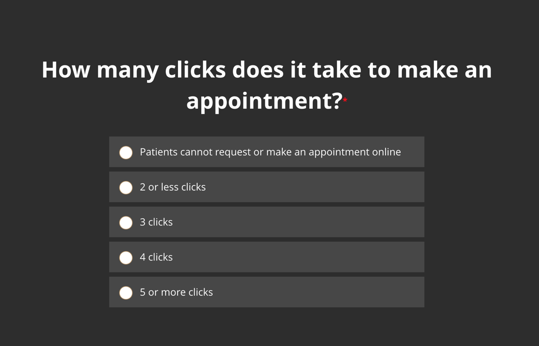 How many clicks does it take to make an appointment on your website?