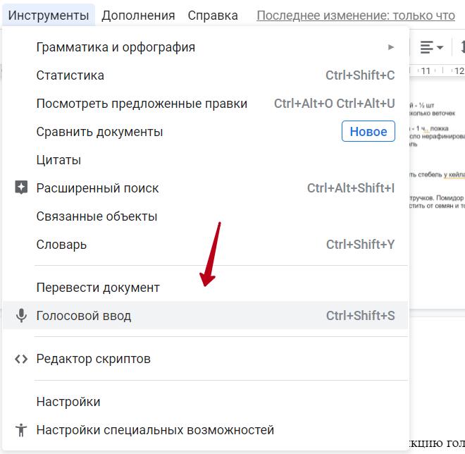 Голосовой ввод в Google Docs