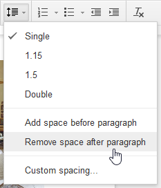 Removing space before a paragraph