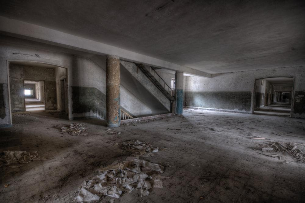 gray and white concrete building interior