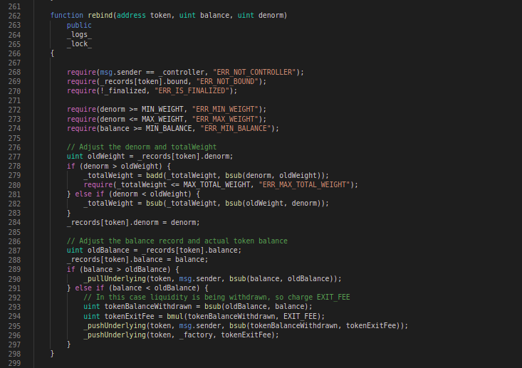 Balancer Codeblock: rebind function