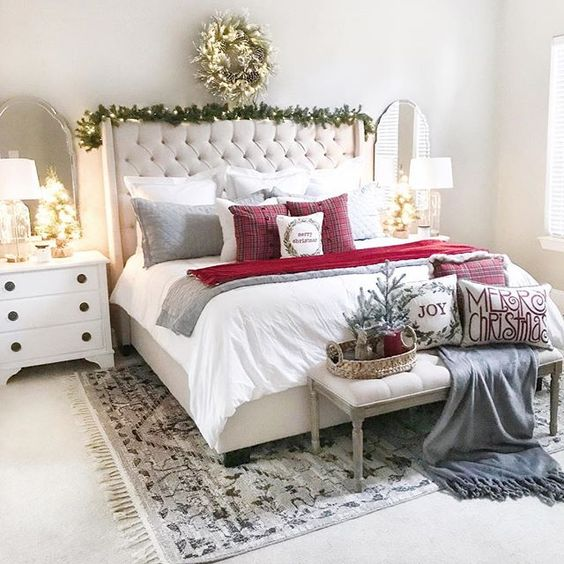 White Bedroom with Christmas Holiday Inspiration