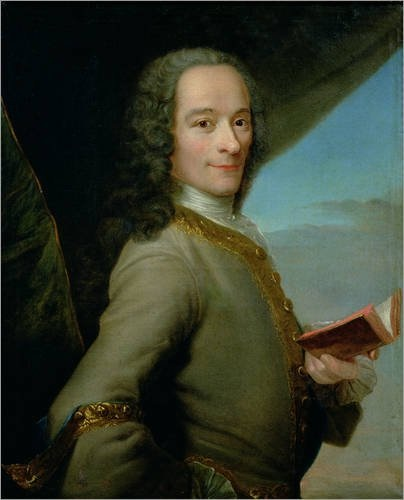Portrait of Voltaire holding a book.