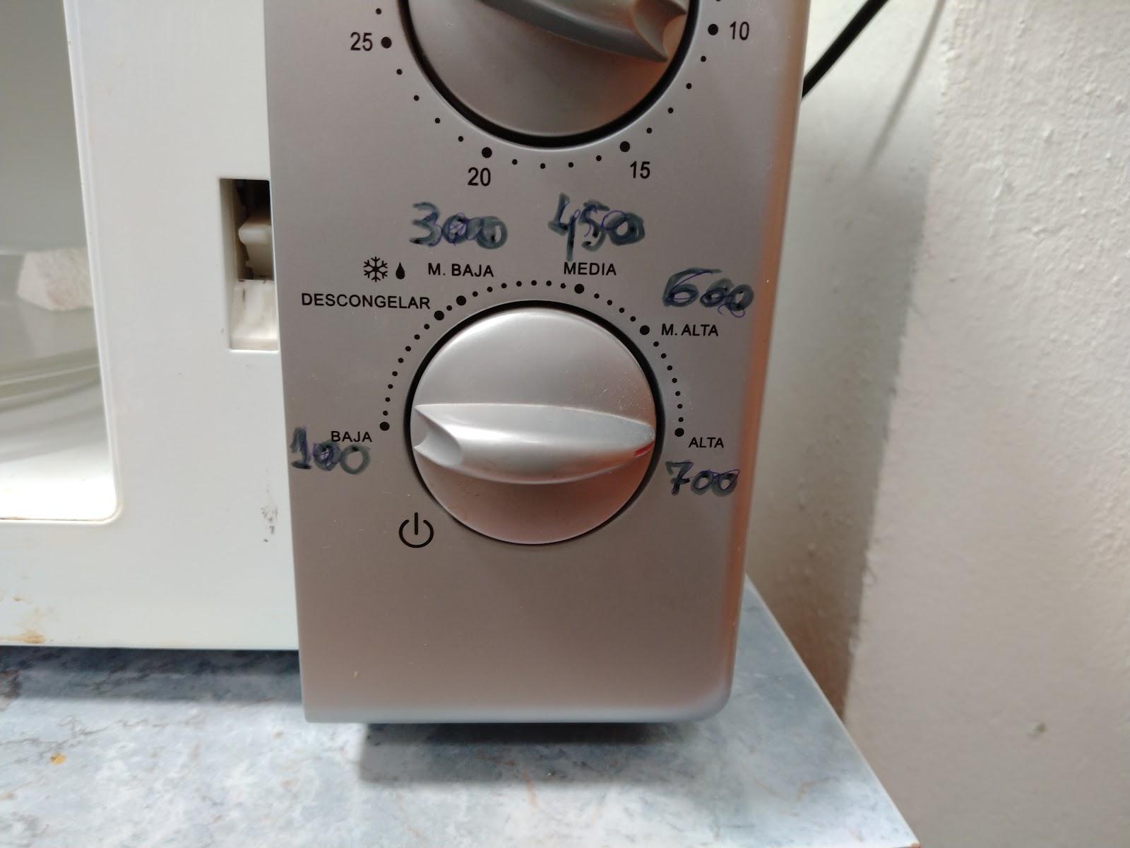 Potencias microondas, traducidas a watios para cocción cerámica en microondas.