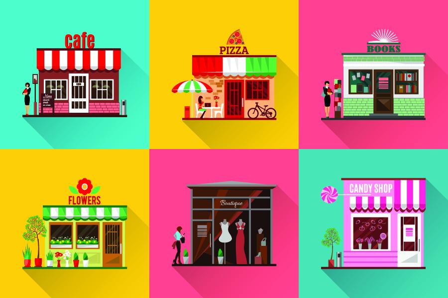 different cartoon shops