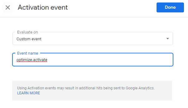 Activating your test with an event in Google Optimize