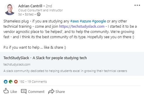 Screenshot of LinkedIn Promotion of a Slack Community.