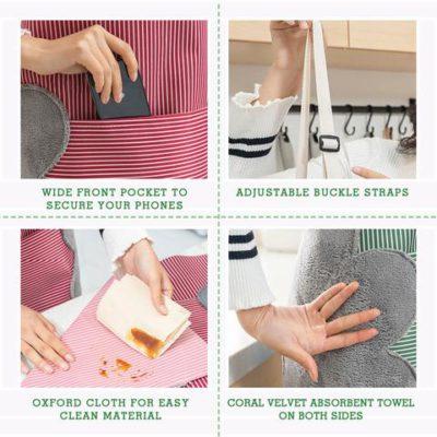 Kitchen Apron, Erasable Hand Waterproof Kitchen Apron