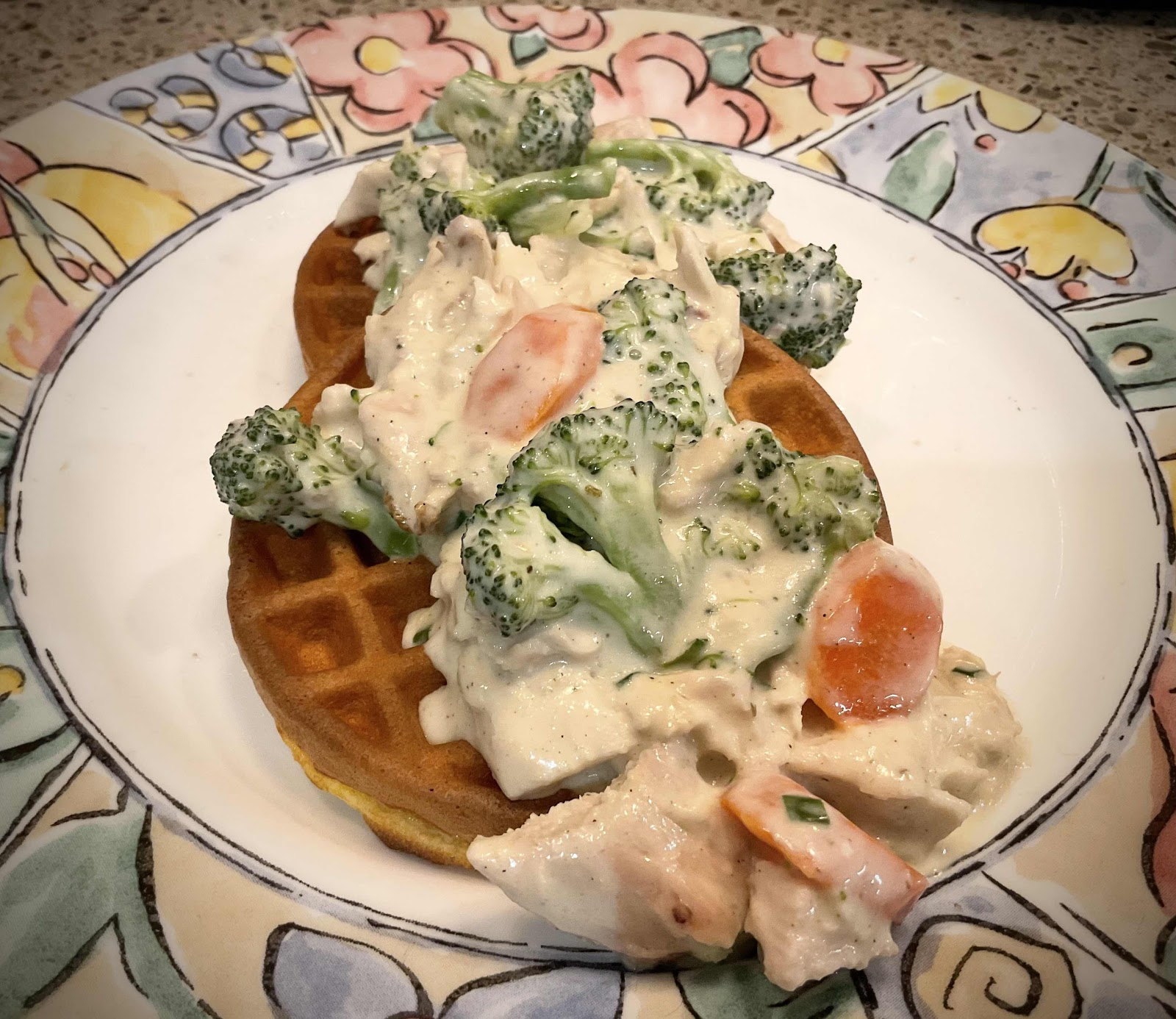Creamed Chicken and Vegetables over Chaffles