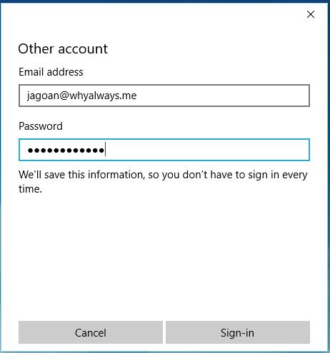 Setting email hosting pada Windows 8 dan 10 Mail