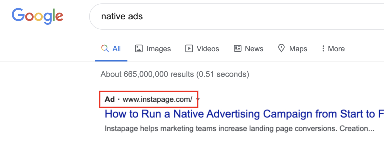 Paid search unit native ad example