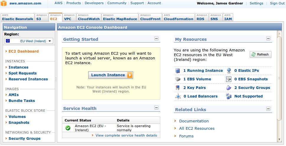 Amazon EC2 Dashboard.