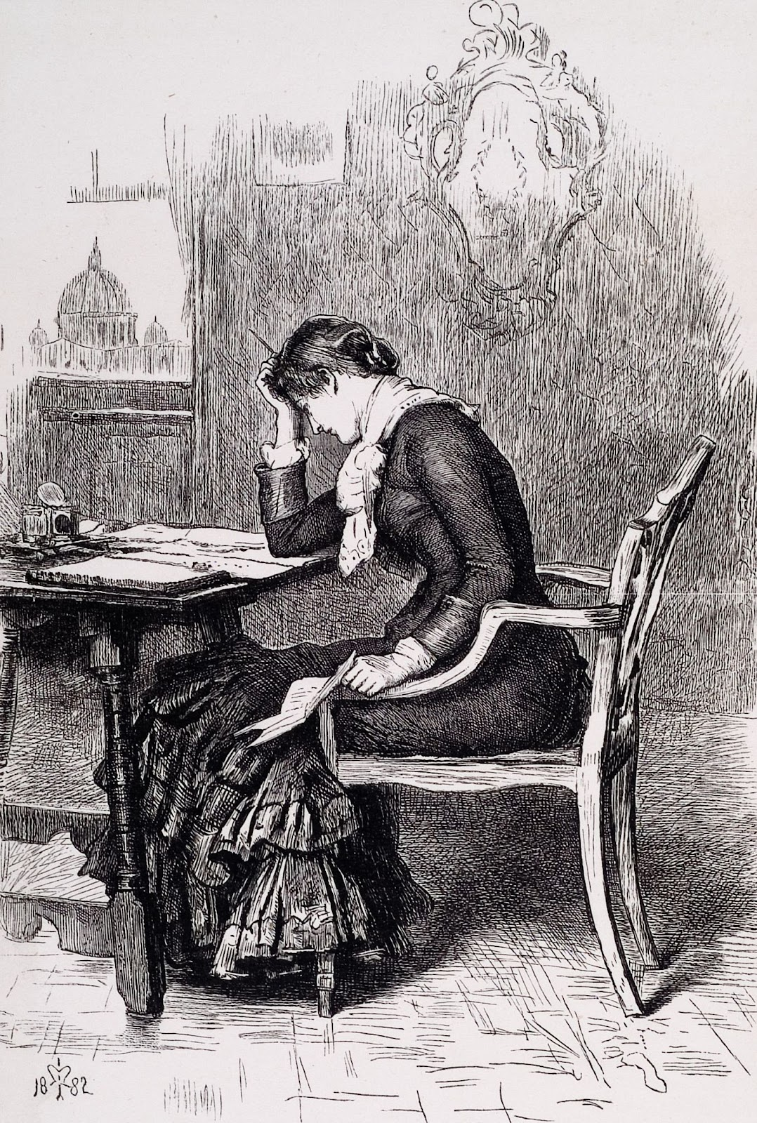 etching of woman