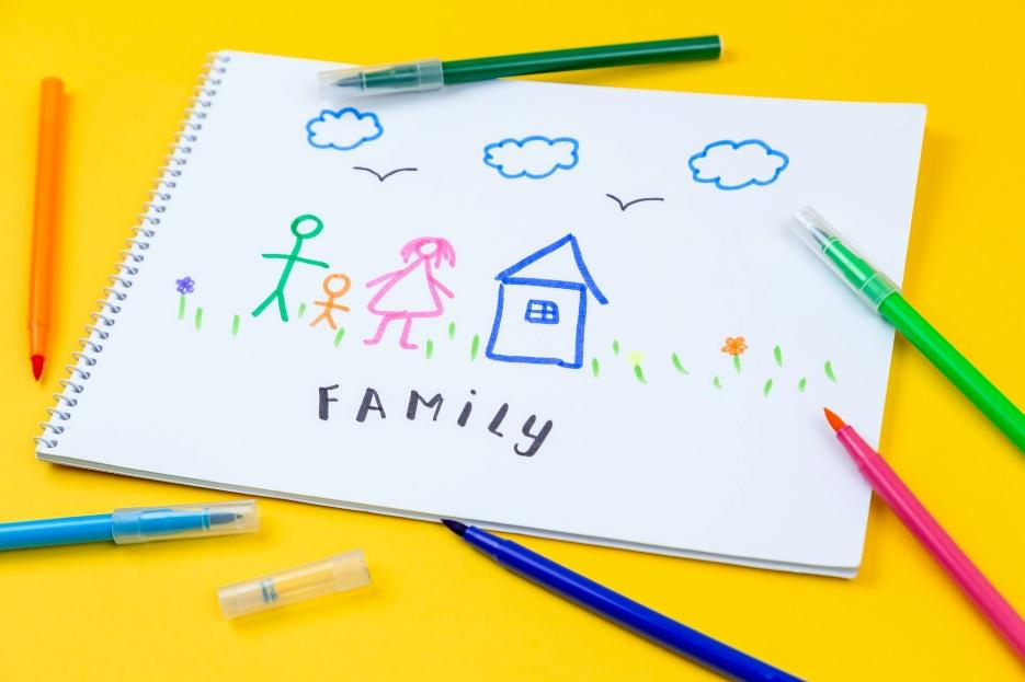 A child's drawing of a house and a family.