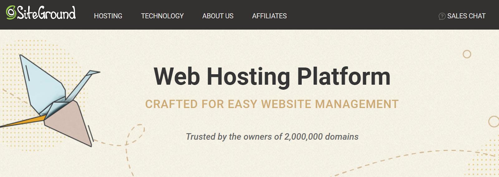 SiteGround hosting platform