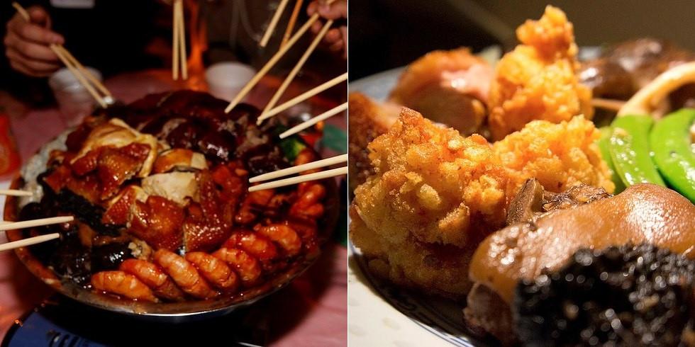 Poon Choi (Lẩu khô): Với nguyên liệu đa dạng từ hải sản tới các loại thịt được chế biến và bày vào một thố lớn, Poon Choi là món ăn hấp dẫn phù hợp với nhiều khẩu vị, sở thích.