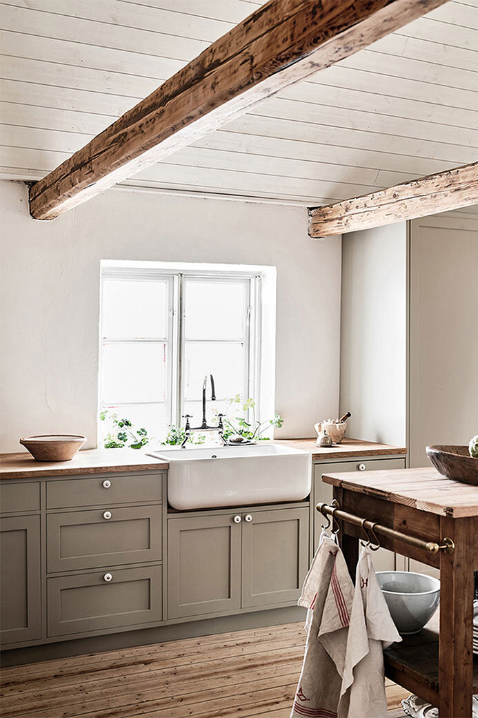 scandinavian farmhouse kitchen with shiplap ceiling, exposed wood beams, grey shaker cabinets, wood countertops and wood floors