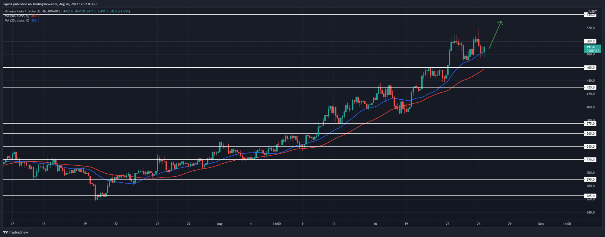 Binance Coin Price Analysis: BNB retraces to $480 after a spike higher overnight