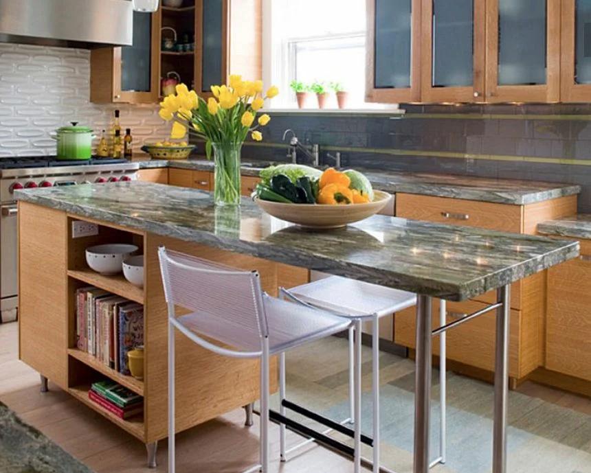 Функциональная версия обеденного стола, выполненного из комбинированных материалов