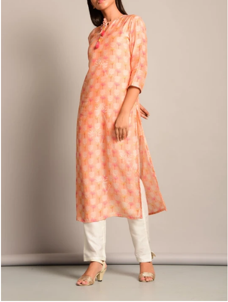Peach Leheriya Printed Kurti for Women