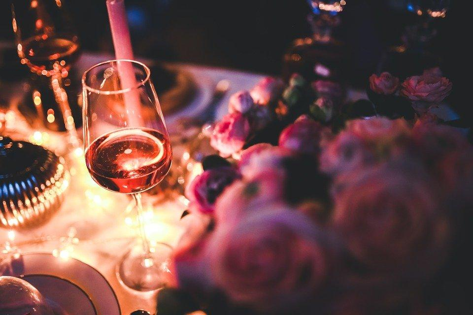 Wine, Rose, Alcohol, Party, Single, Evening, Night