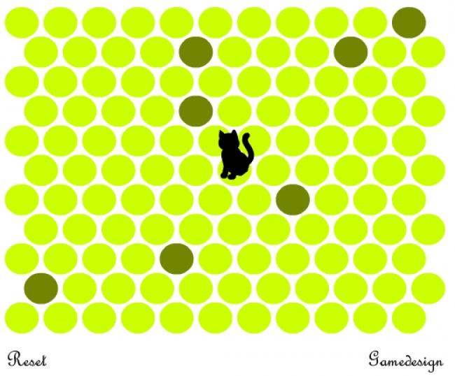 Convierte todos los círculos verdes en amarillos para atrapar al gato. ¡Es un juego realmente adictivo!