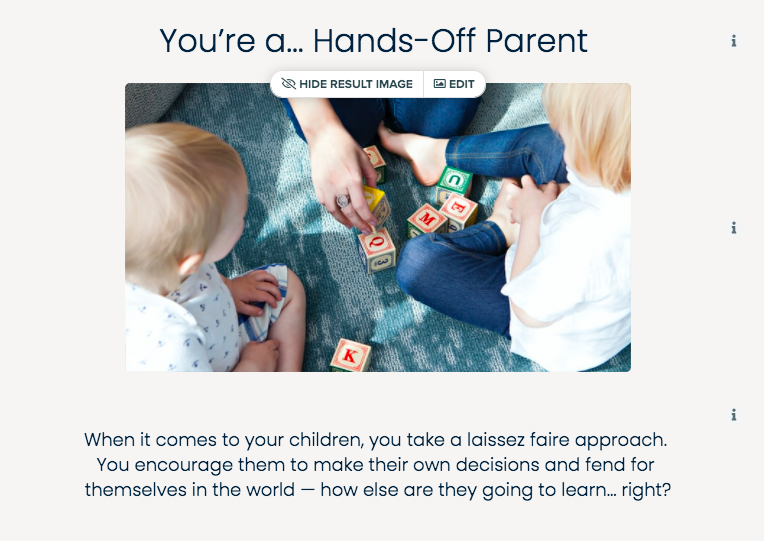 parenting style quiz result page