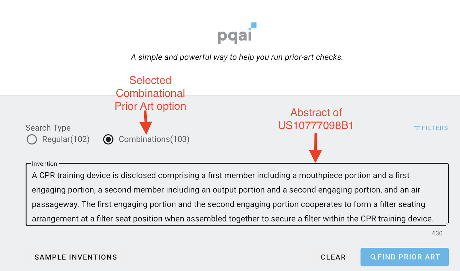 Avoid 103 type rejection by conducting combinational prior art search using PQAI  Snapshot from PQAI