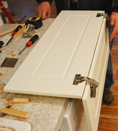 Installing Pie Cut Hinged Doors For Lazy Susan Corner Cabinet Momplex Vanilla Kitchen Ana White Woodworking Projects