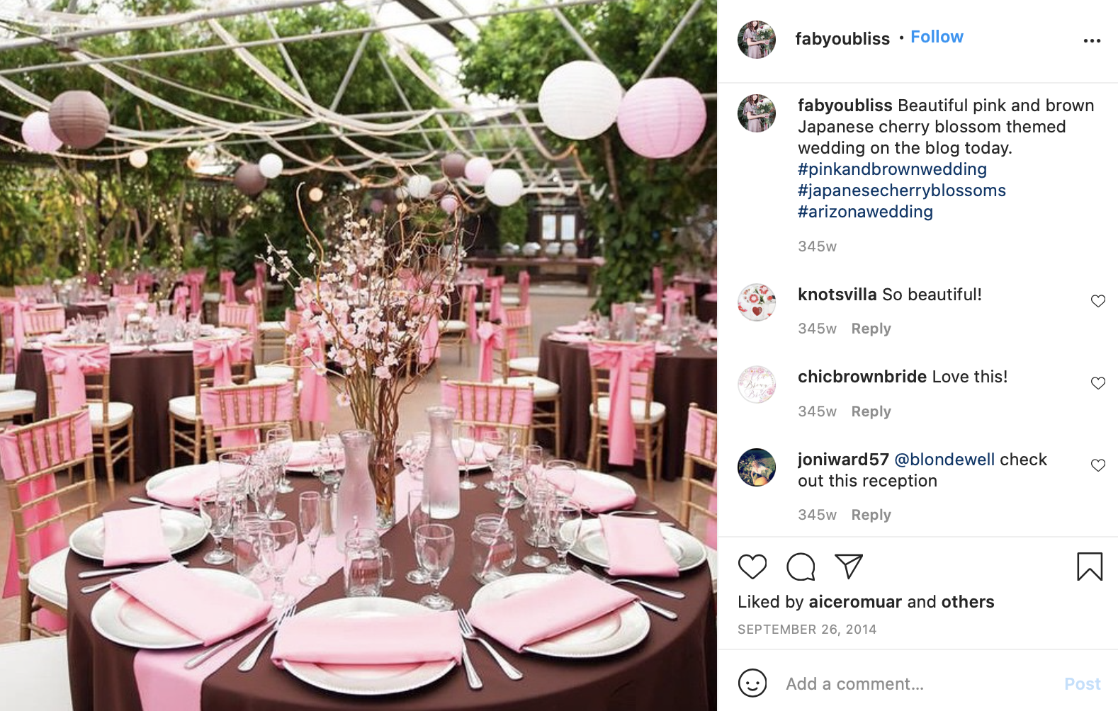 brown and pastel pink wedding tables