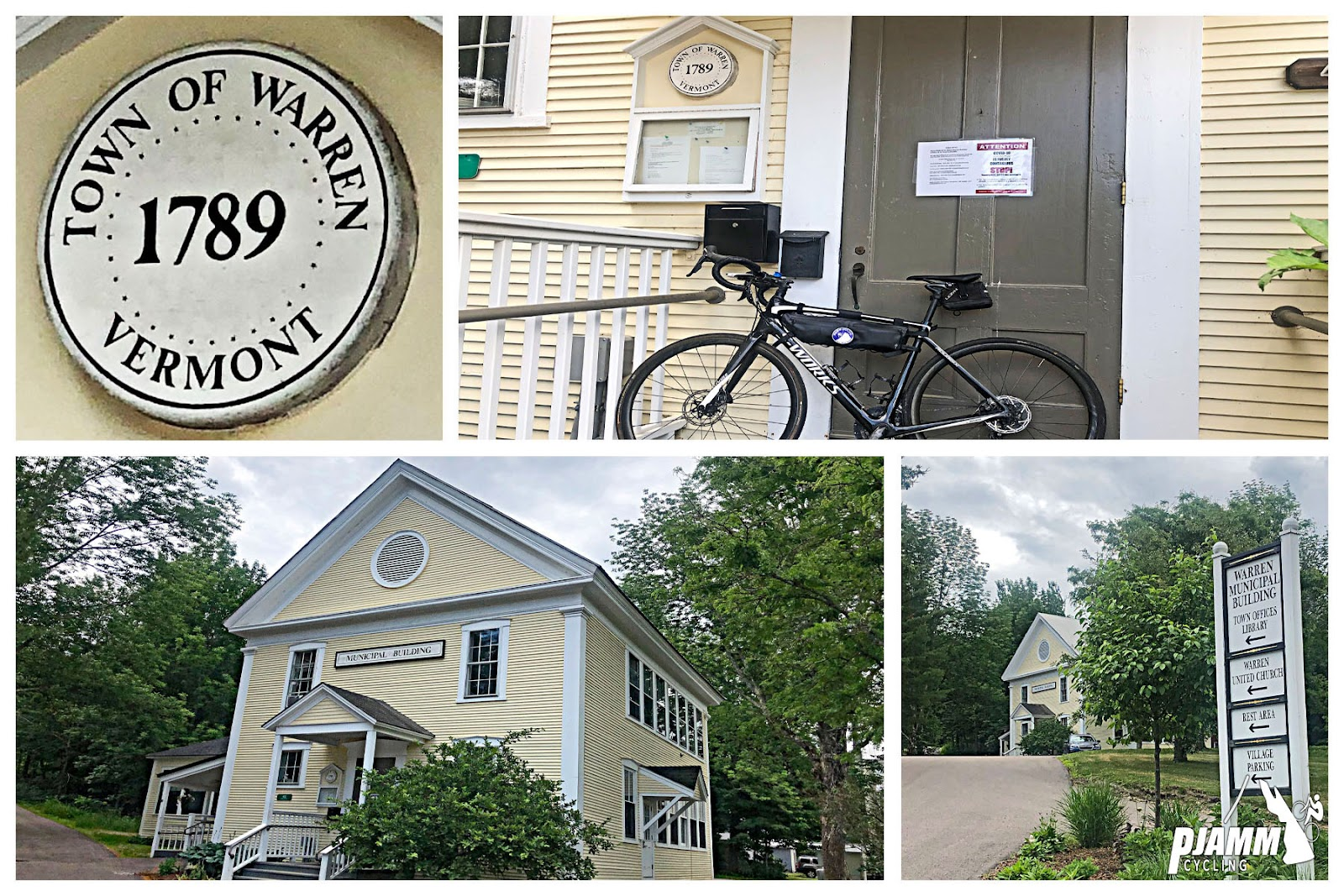 """Cycling Lincoln Gap East - light yellow colonial era two story building with """"Town of Warren, Vermont 1789"""" circular placard, bike leaning against front porch of building"""