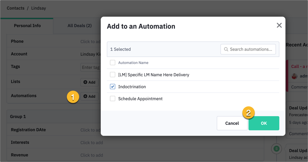 How to add a contact to an automation in ActiveCampaign