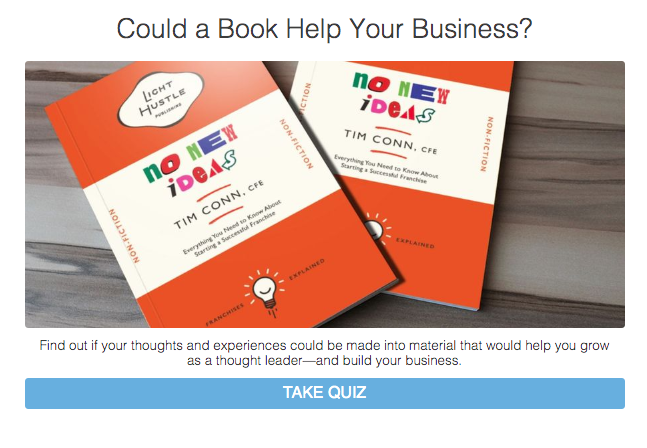 could a book help your business? quiz cover with books on a table