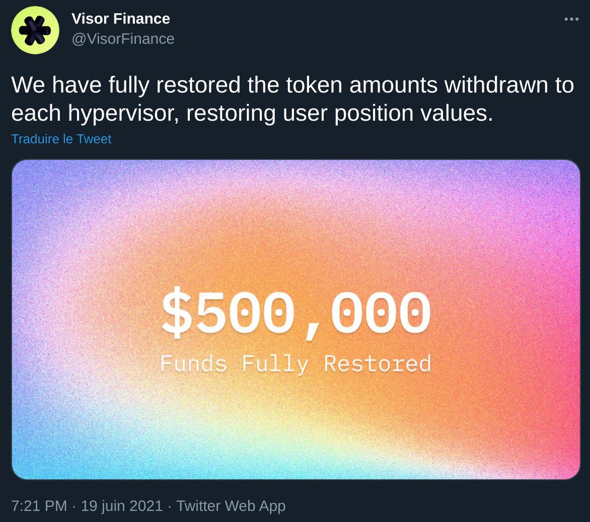Communiqué de Visor Finance