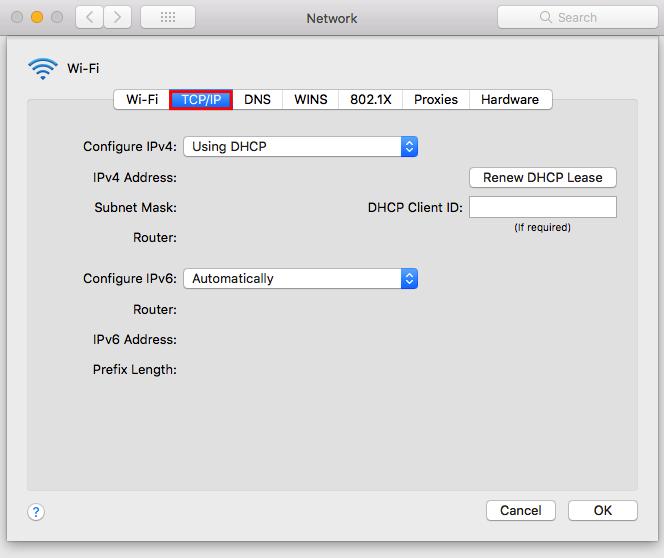 Screenshot of Mac Network window illustrating how to turn off IPv6