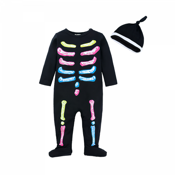 Baby Colorful Skeleton Print Footed Jumpsuit & Hat