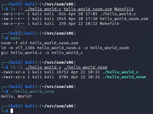 Using Make to build our NASM Hello World program
