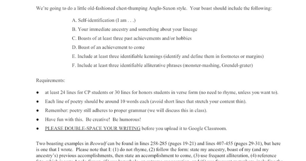 anglo saxon boast creative writing google docs