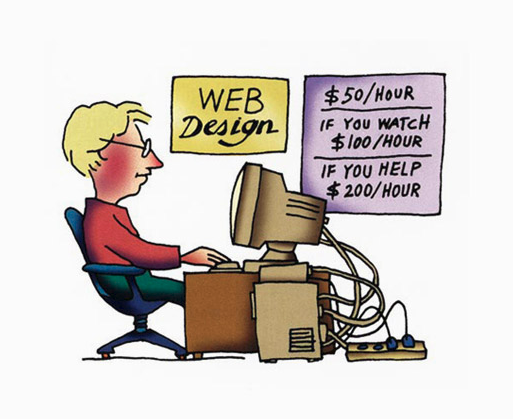 A web designer specifying the cost of web designing
