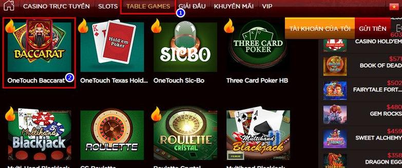 Chơi game Baccarat tại Live Casino House